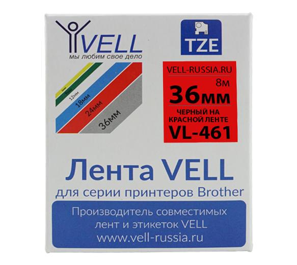 Фото Лента Vell VL-461 (Brother TZE-461, 36 мм, черный на красном) для PT9700/P900W {Vell461}