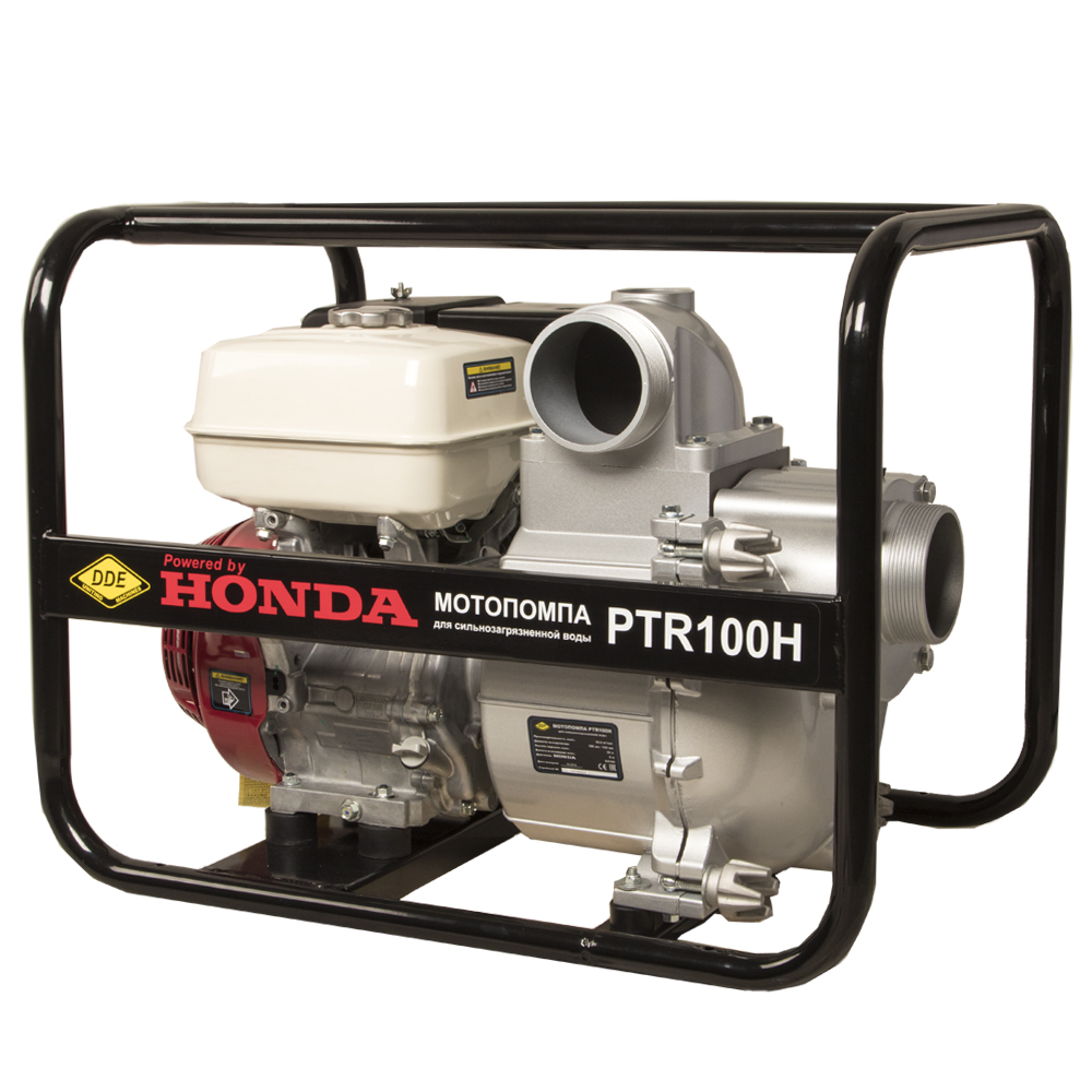 Фото Мотопомпа бензиновая грязевая DDE PTR100H (выход 100 мм, Honda GX390, напор 26 м, 1510 л/мин, 73 кг) (1)