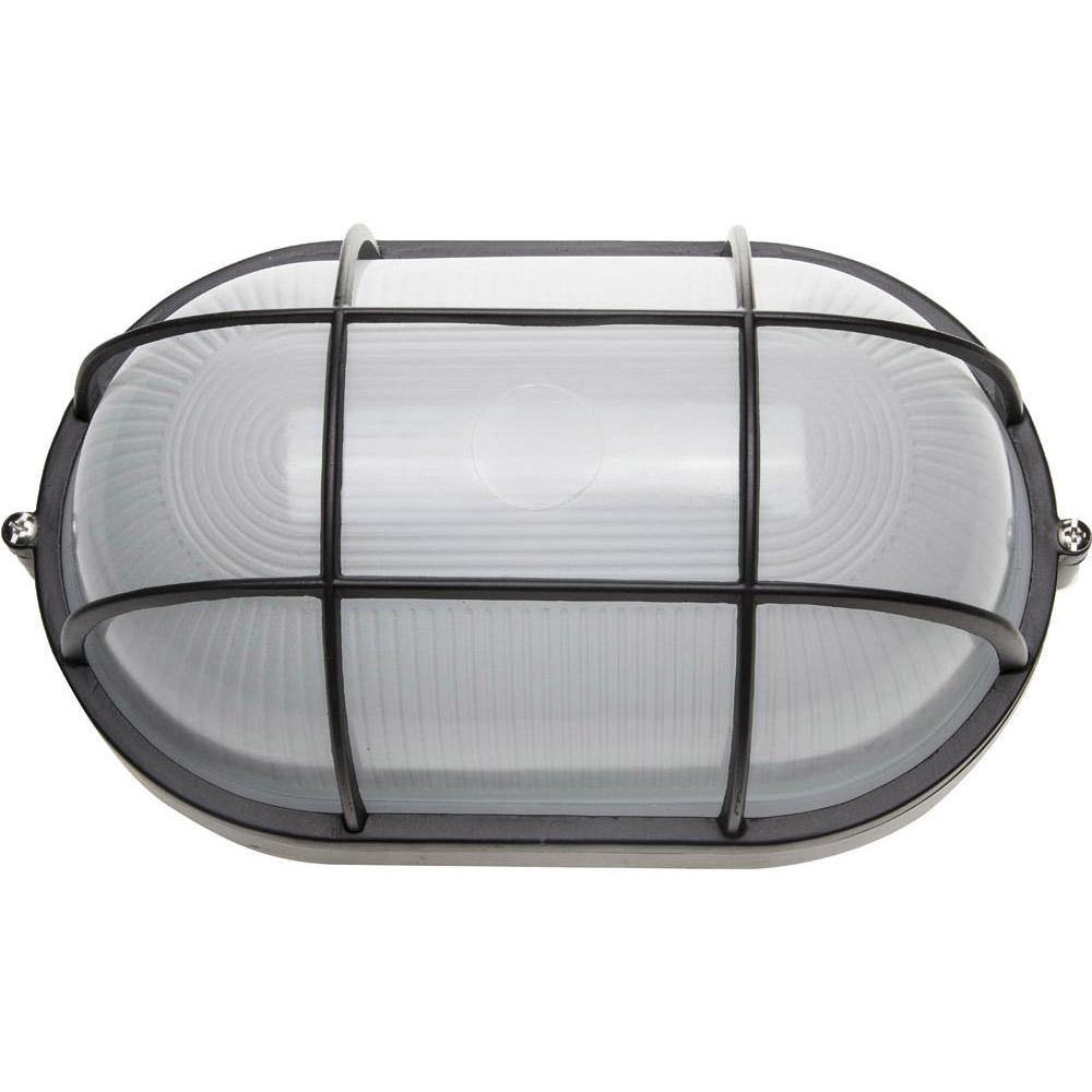 Фото Светильник уличный СВЕТОЗАР влагозащищенный с решеткой, овал, цвет черный, 100Вт {SV-57207-B}