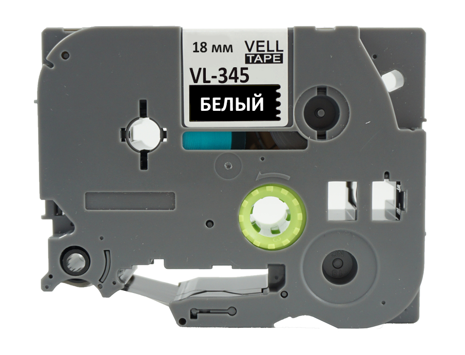 Фото Лента Vell VL-345 (Brother TZE-345, 18 мм, белый на черном) для PT D450/D600/E300/2700/ P700/P750/E550/9700/P900/2430 {Vell345} (1)