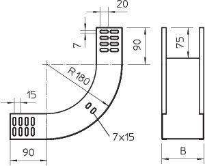 Фото Угол для лотка вертикальный внутренний 90град. 100х60 RBV 610 S FS OBO 7007005