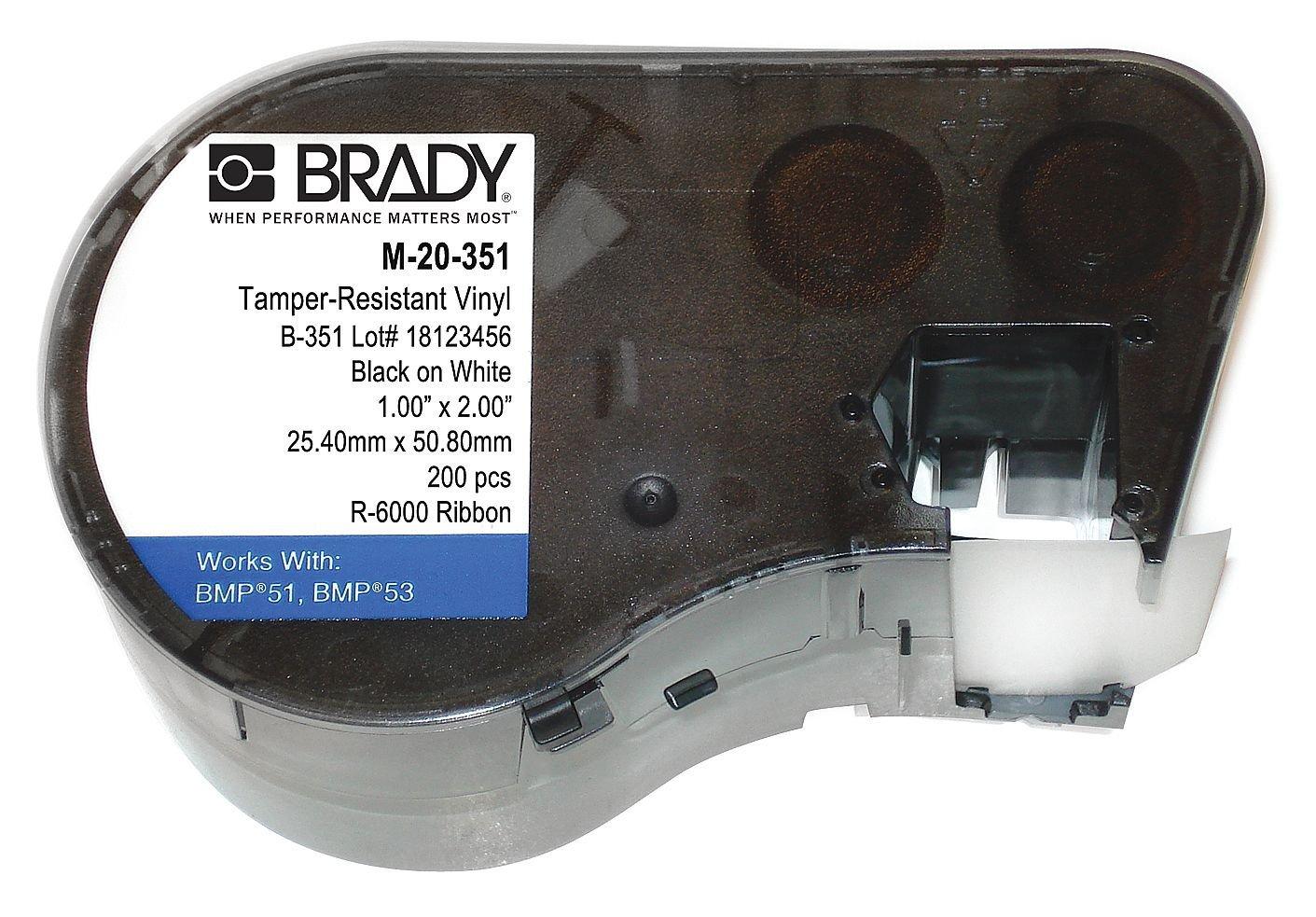 Фото Пломбировочная лента Brady M-20-351, 50.8 x 25.4 мм, черный на белом {brd143234}