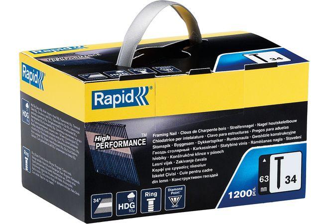 Фото RAPID 63 мм гвозди супертвердые, закаленные тип 34, 1200 шт {5000795}