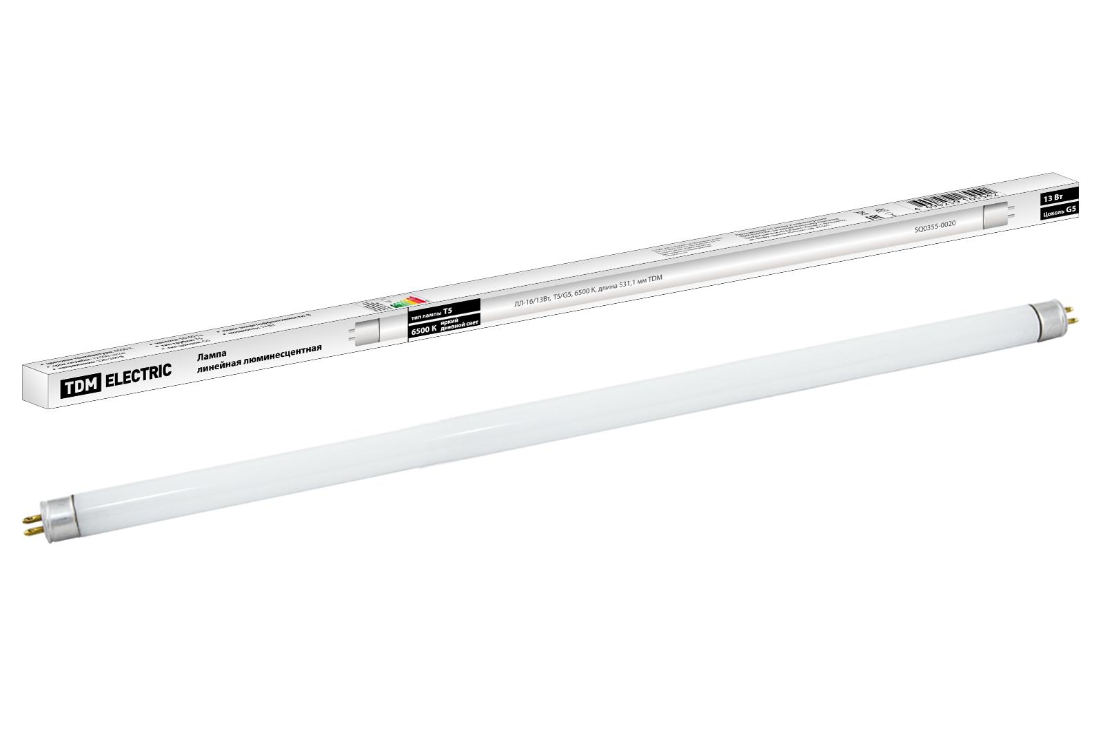 Фото Лампа люминесцентная линейная двухцокольная ЛЛ-16/13 Вт, T5/G5, 6500 К, длина 531,1мм TDM {SQ0355-0020}