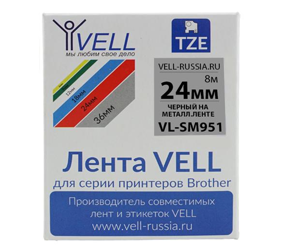 Фото Лента Vell VL-SM951 (Brother TZE-S951, 24 мм, черный на металлизированном) для PT D600/2700/P700/P750/ PTE550/9700/P900 {Vellsm951}
