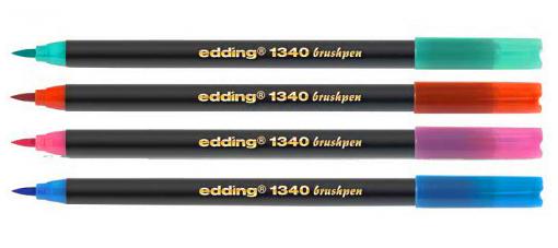 Фото Набор маркеров Edding с наконечником в виде кисти, 10 цветов (набор 51.150) в пластиковом пенале, ассорти {E-1340#10S} (2)