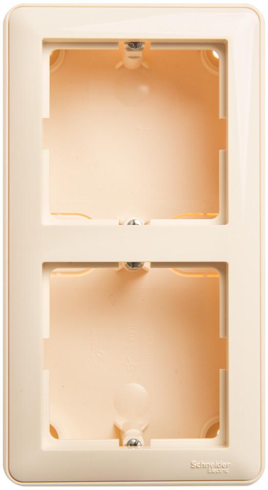 Фото W59 коробка подъемная для наружного монтажа с рамкой 2-местная, слоновая кость {KP-252-28}