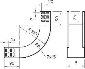 Фото Угол для лотка вертикальный внутренний 90град. 400х60 RBV 640 S FS OBO 7007021