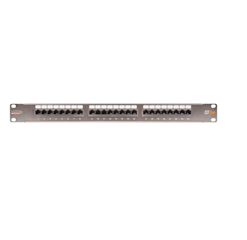 Фото Патч-панель 19дюйм 1U 24 порта кат.5e (класс D) 100МГц RJ45/8P8C 110/KRONE T568A/B полный экран с органайзером метал. NIKOMAX NMC-RP24SD2-1U-MT (1)