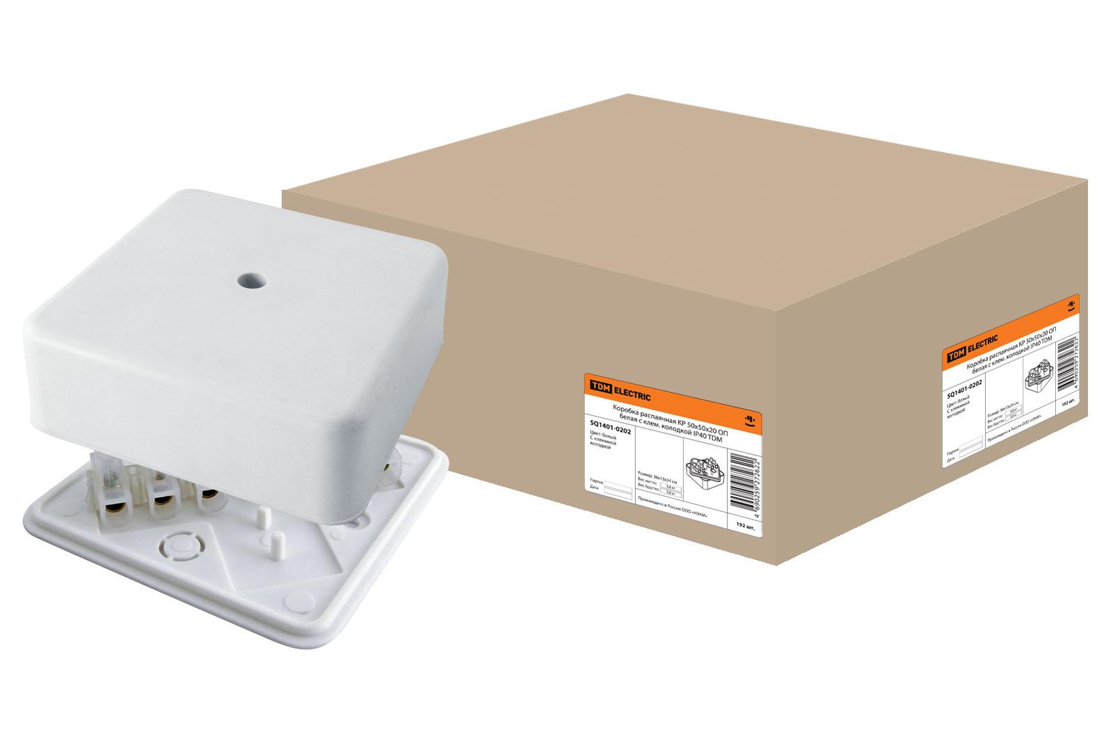 Фото Коробка распаячная КР 50х50х20 ОП с клем. колодкой белая IP40 TDM {SQ1401-0202}