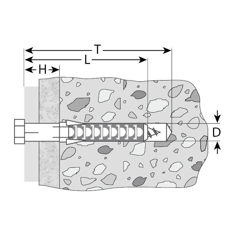 Фото Дюбель рамный нейлоновый, в комплекте с оцинкованным шурупом, шестигранная головка, 10 x 115 мм, 50 шт, ЗУБР Профессионал {4-301475-10-115} (1)
