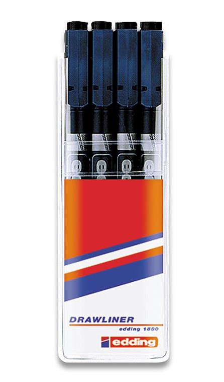Фото Набор ручек для черчения Edding, 4 штуки, черный {E-1880#4S#1}