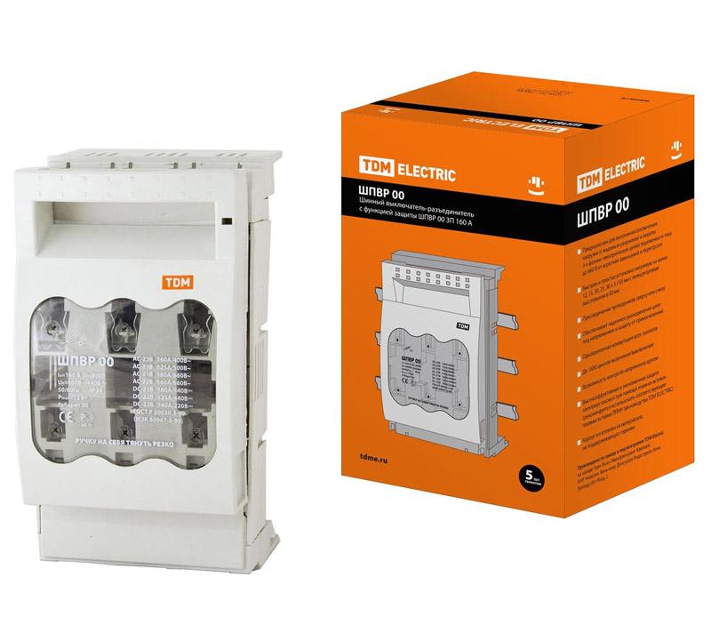 Фото Шинный выключатель-разъединитель с функцией защиты ШПВР 00 3П 160A TDM {SQ0726-0005} (1)