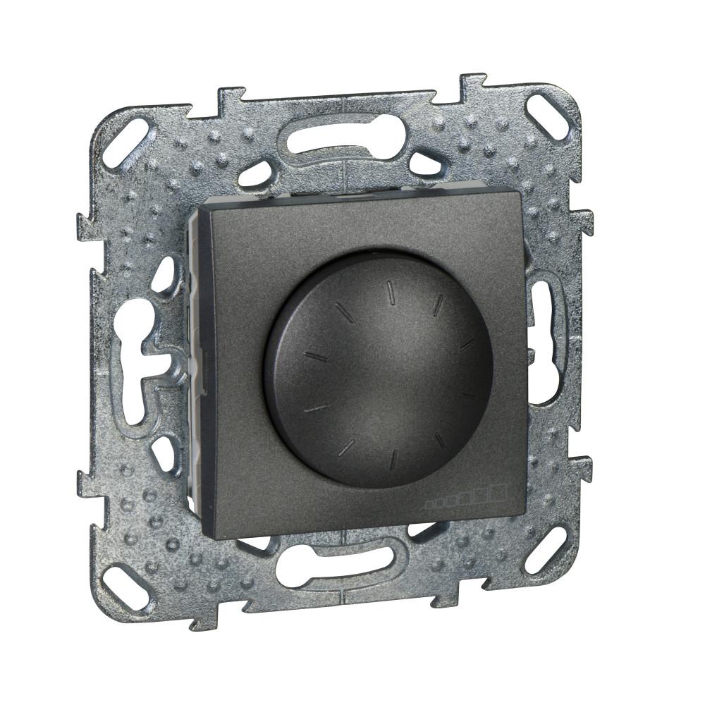 Фото UNICA TOP диммер повор.-нажим.,для ламп накал./галог., 2-провод. подкл., графит {MGU5.511.12ZD}