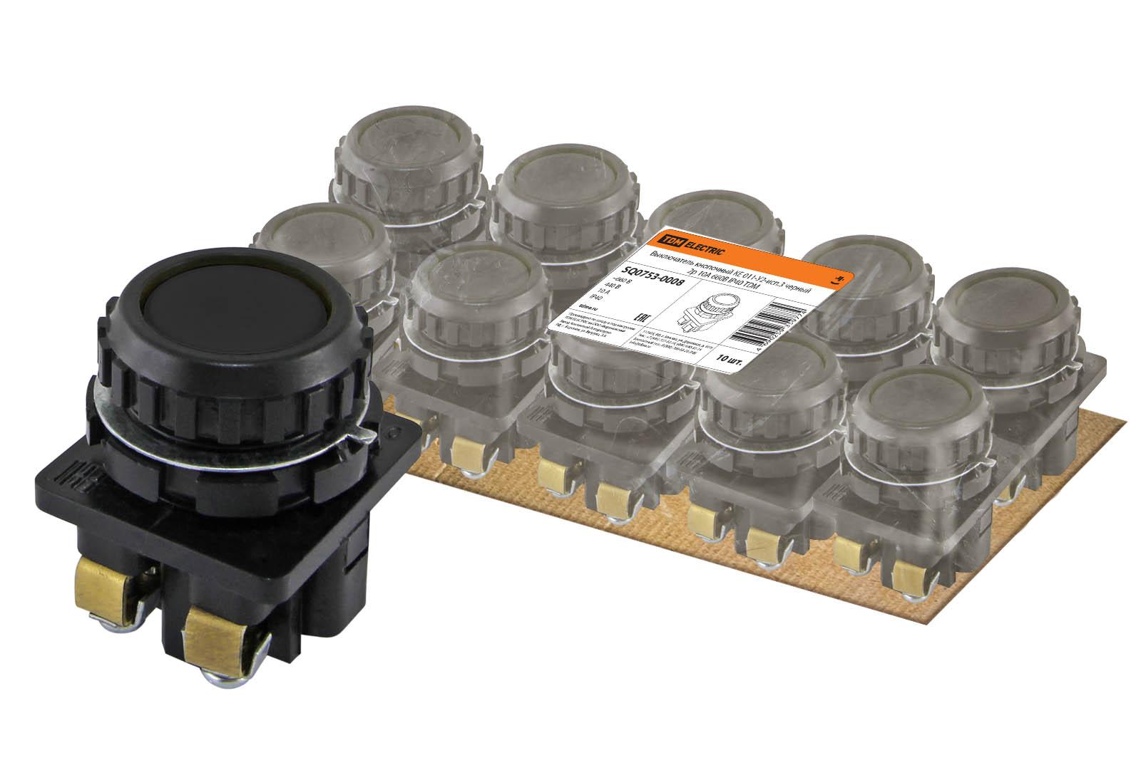 Фото Выключатель кнопочный КЕ 011-У2-исп.3 черный 2р 10A 660B IP40 TDM {SQ0753-0008}