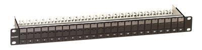 Фото Патч-панель наборная экранированная 19дюйм 1U Keystone 24 порта +F DKC RNKPPF241BK