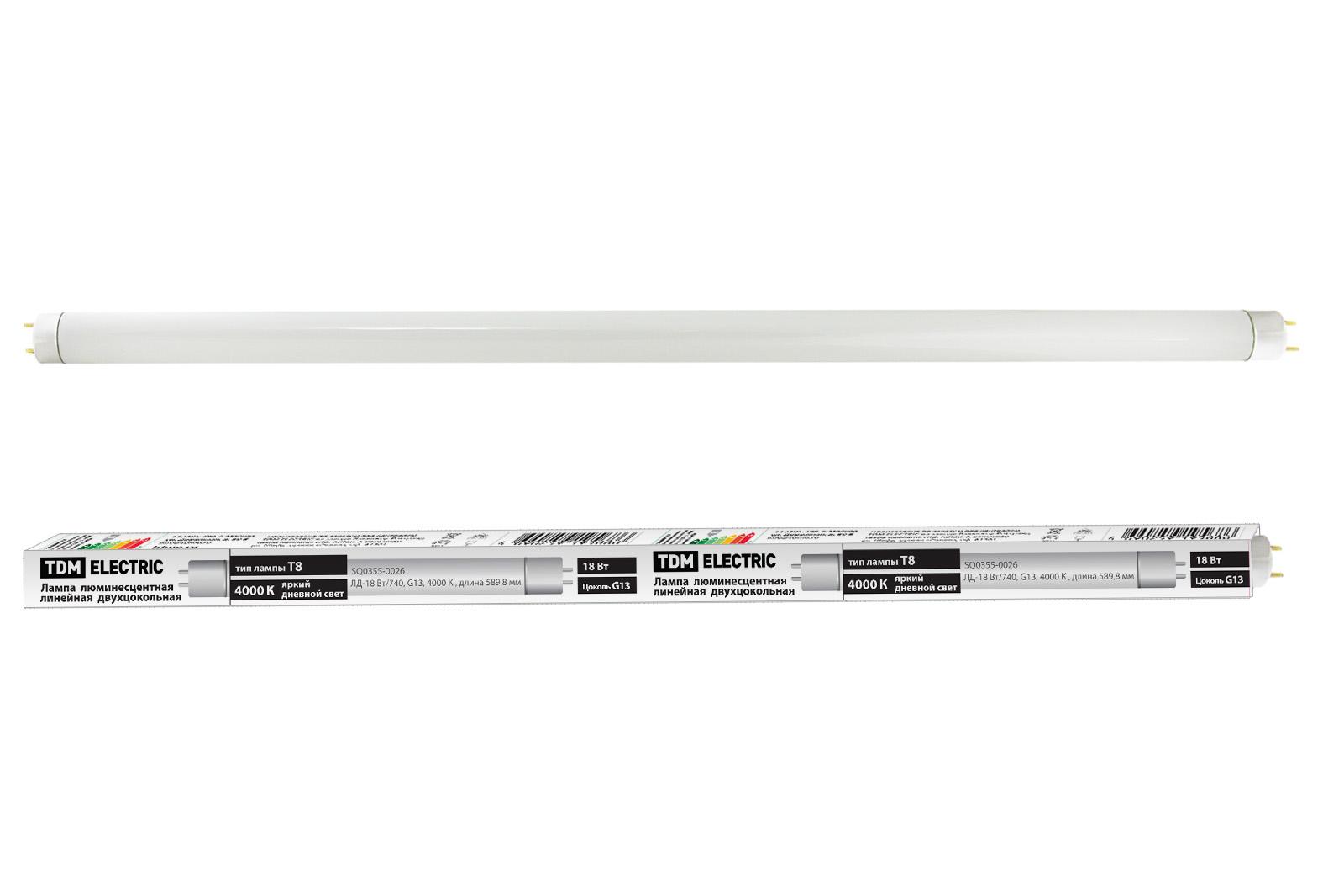 Фото Лампа люминесцентная линейная двухцокольная ЛЛ-18Вт/640, T8/G13, 4000 К TDM {SQ0355-0026}