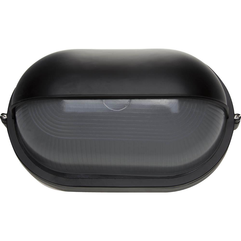 Фото Светильник уличный СВЕТОЗАР влагозащищенный с верхним защитным кожухом, овал, цвет черный, 100Вт {SV-57213-B}