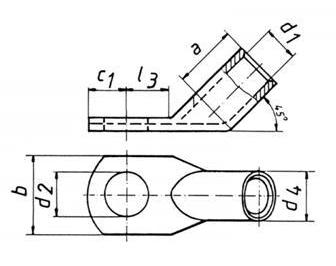 Фото Наконечники медные угловые 45 DIN Klauke 120 мм² под винт М16 {klk169R1645} (1)