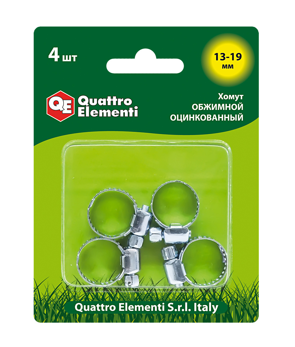 Фото Хомут обжимной Quattro Elementi 13-19 мм, оцинкованный (4 шт, блистер) {771-992}