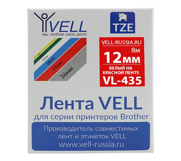 Фото Лента Vell VL-435 (Brother TZE-435, 12 мм, белый на красном) для PT 1010/1280/D200/H105/E100/ D600/E300/2700/ P700/E550/9700 {Vell435}