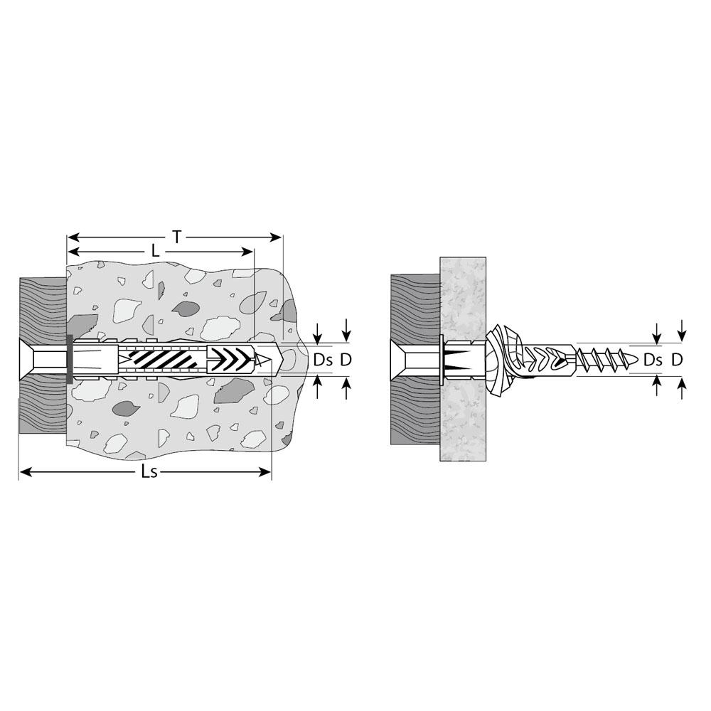 Фото Дюбель универсальный полипропиленовый, с бортиком, в комплекте с оцинкованным шурупом, 6 х 52 мм, 12 шт, ЗУБР {4-301206-06-052} (1)