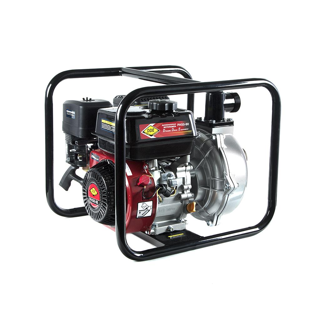 Фото Мотопомпа бензиновая высоконапорная DDE PH50-80 (выход 50 мм, 7 л.c, 80 м, 18 м.куб/час, бак 3,6 л, 30 кг) {PH50-80}