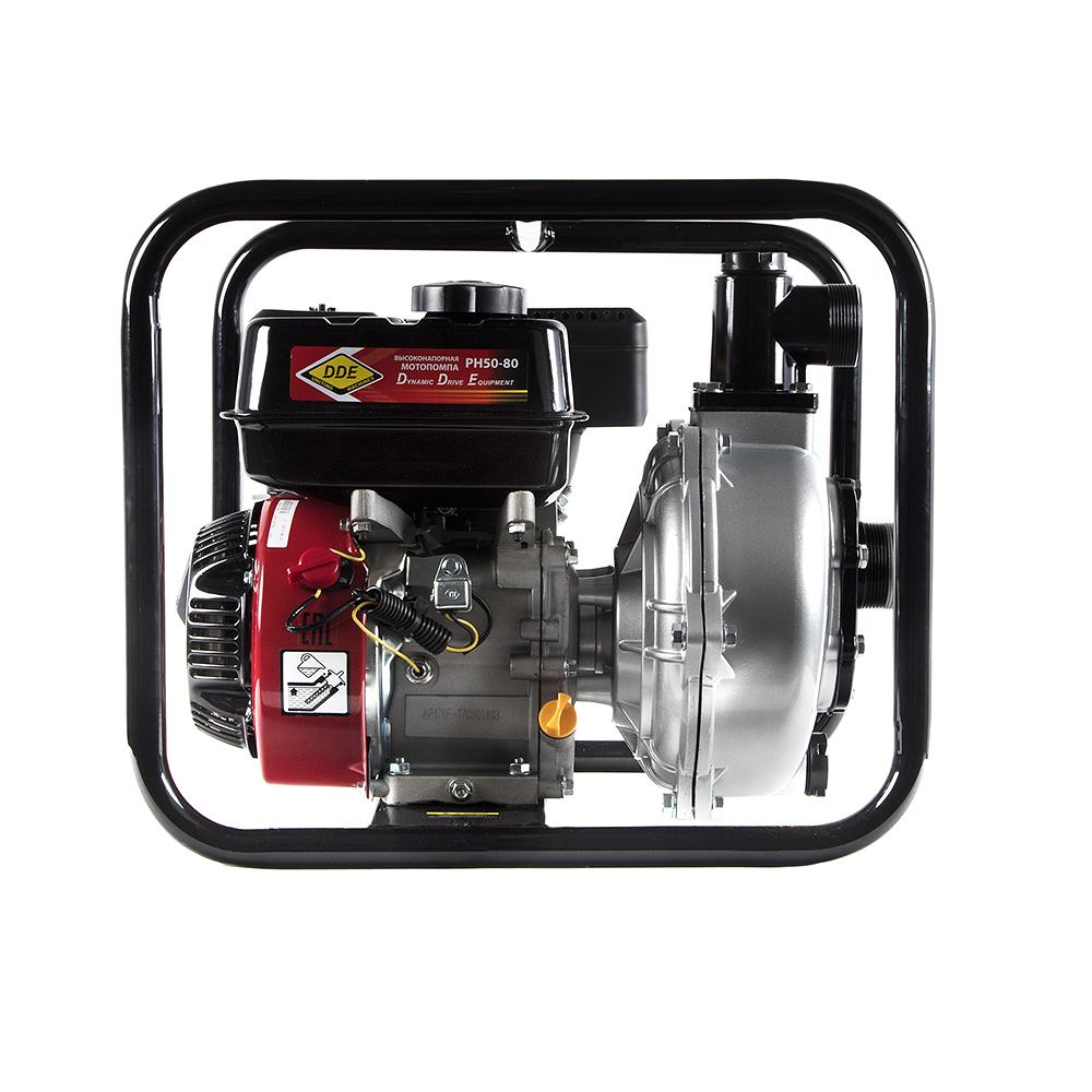 Фото Мотопомпа бензиновая высоконапорная DDE PH50-80 (выход 50 мм, 7 л.c, 80 м, 18 м.куб/час, бак 3,6 л, 30 кг) {PH50-80} (2)