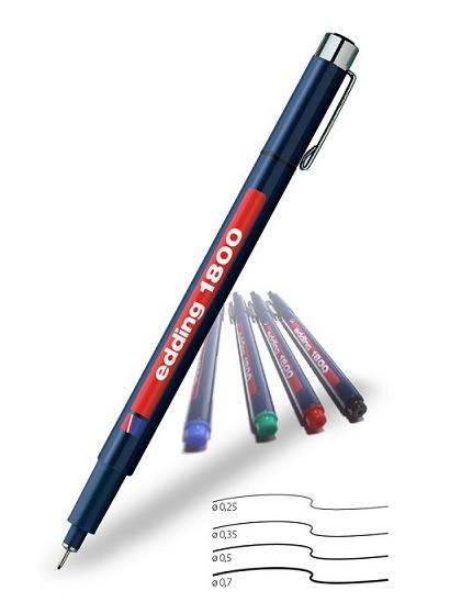 Фото Капиллярная ручка-фломастер Edding для черчения, круглый наконечник, 0,3 мм, зеленый {E-1800-0.3#4} (1)