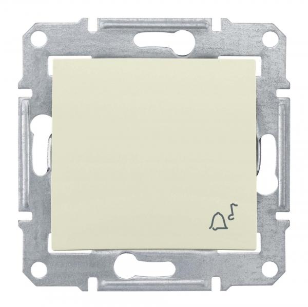 Фото Выключатель кнопочный SEDNA с символом звонок, сх.1, 10а, 250в, бежевый {SDN0800147}