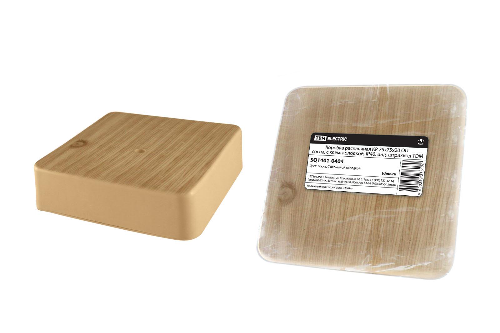 Фото Коробка распаячная КР 75х75х20 ОП сосна, с клем. колодкой, IP40, инд. штрихкод TDM {SQ1401-0404}