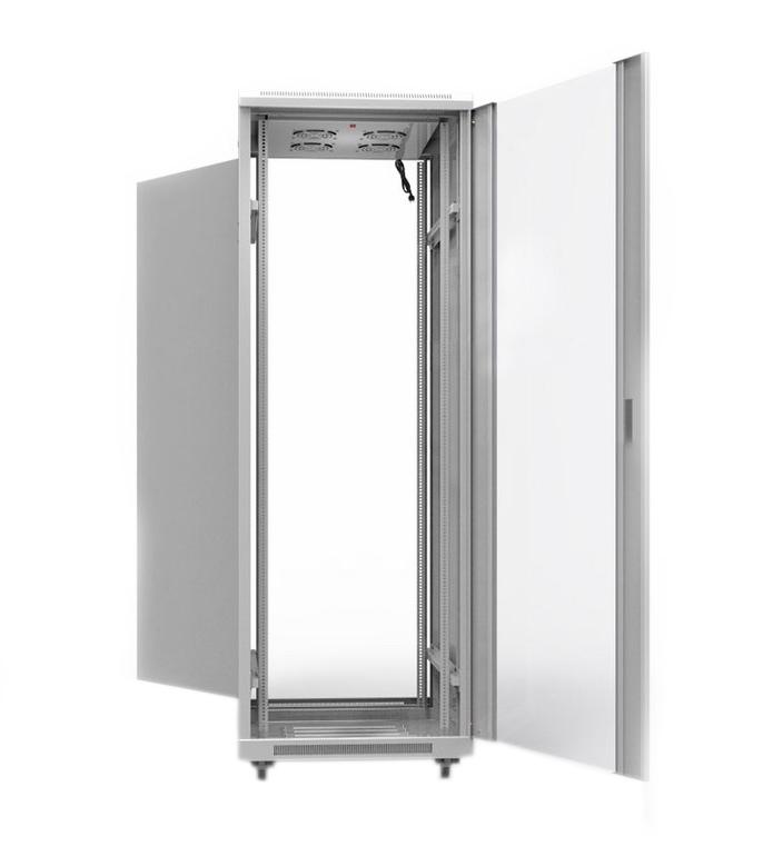 """Фото 19"""" Напольный шкаф Rexant серии Standart 42U 800х800 мм, передняя дверь стекло, задняя дверь металл, RAL 7035 {04-2308} (2)"""