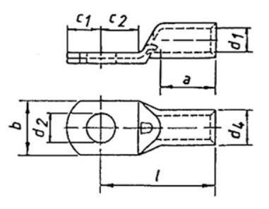 Фото Наконечник трубчатый медный Klauke 35 мм² под болт М10, специальный тип для сплошных жил {klkSR3510} (1)