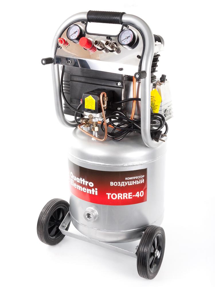 Фото Компрессор поршневой масляный Quattro Elementi TORRE-40 (300 л/мин, 40 л, 2,5 л.с, 8 бар, 32 кг, вертикальный) {770-261}