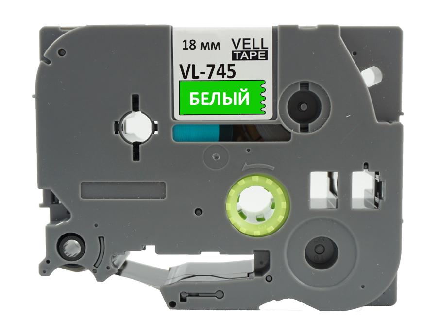 Фото Лента Vell VL-745 (Brother TZE-745, 18 мм, белый на зеленом) для PT D450/D600/E300/2700/ P700/P750/E550/9700/P900/2430 {Vell745} (1)
