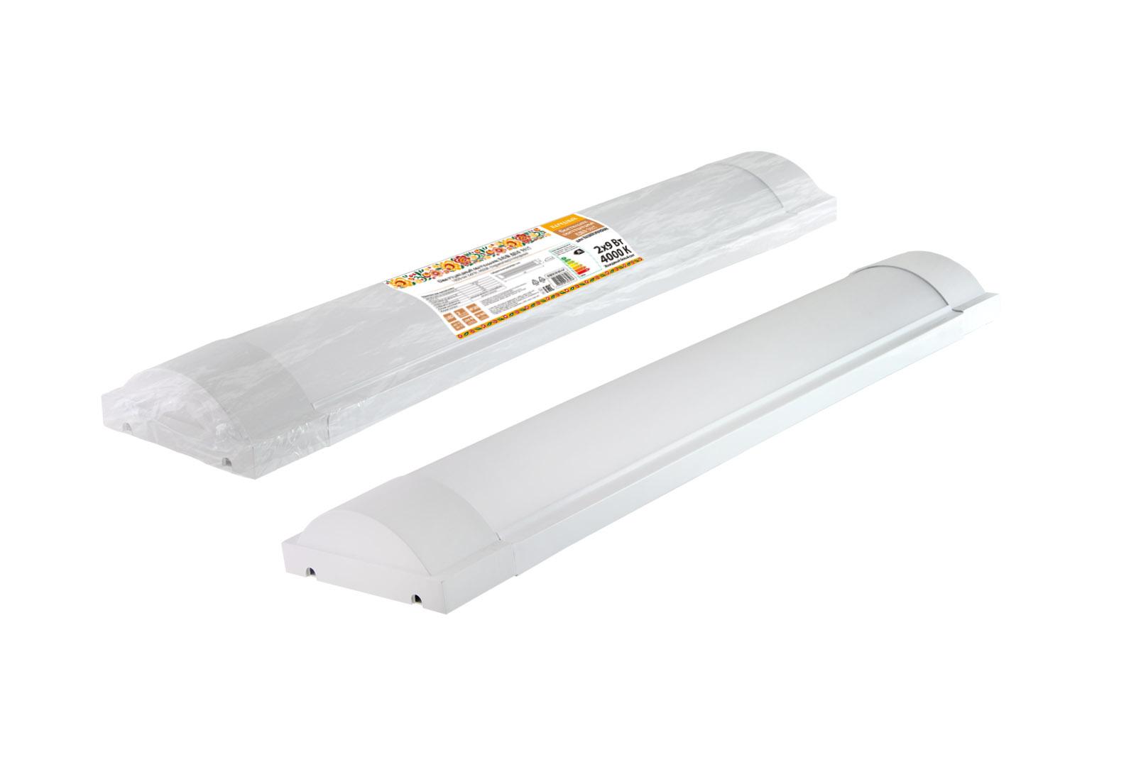 Фото Светодиодный светильник LED ДПО 3017 1800 лм 2х9 Вт, 4000К (термопак) Народный {SQ0329-0147}
