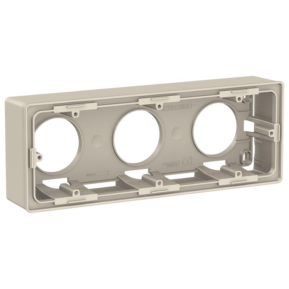 Фото Коробка для открытой установки UNICA NEW, 3-постовая, бежевый {NU800644}