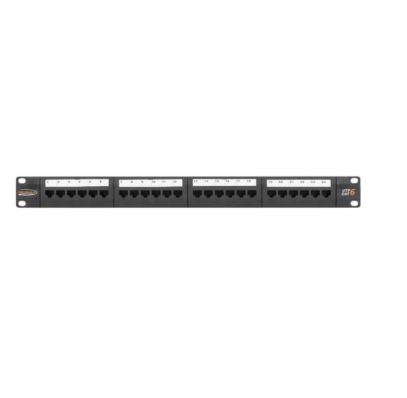 Фото Патч-панель19дюйм 1U 24 порта кат.6 (класс E) 250МГц RJ45/8P8C 110/KRONE T568A/B неэкран. с органайзером черн. NIKOMAX NMC-RP24UE2-1U-BK (1)