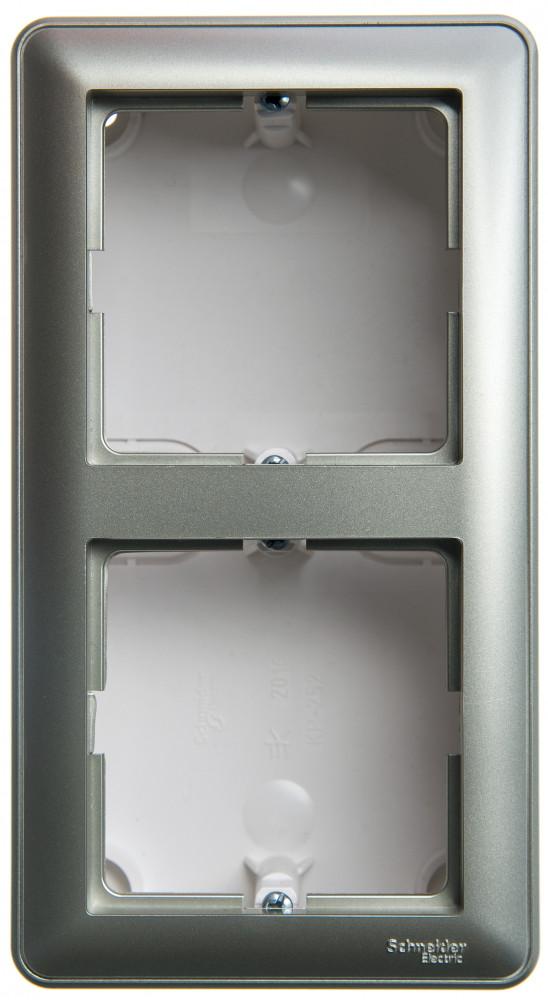 Фото W59 коробка подъемная для наружного монтажа с рамкой 2-местная, шампань {KP-252-48}