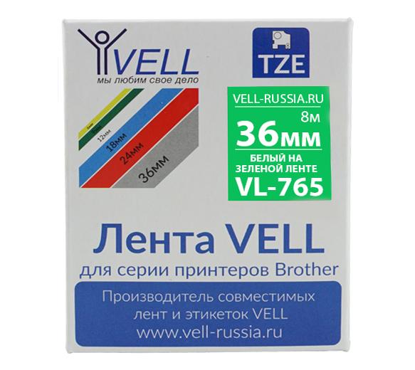 Фото Лента Vell VL-765 (Brother TZE-765, 36 мм, белый на зеленом) для PT9700/P900W {Vell765}