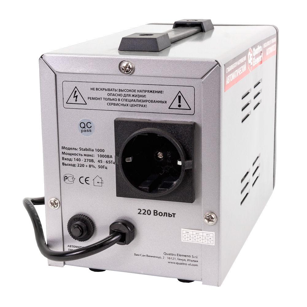 Фото Стабилизатор напряжения Quattro Elementi Stabilia 1000 (1000 ВА, 140-270 В, 2,7 кг) {772-043} (1)