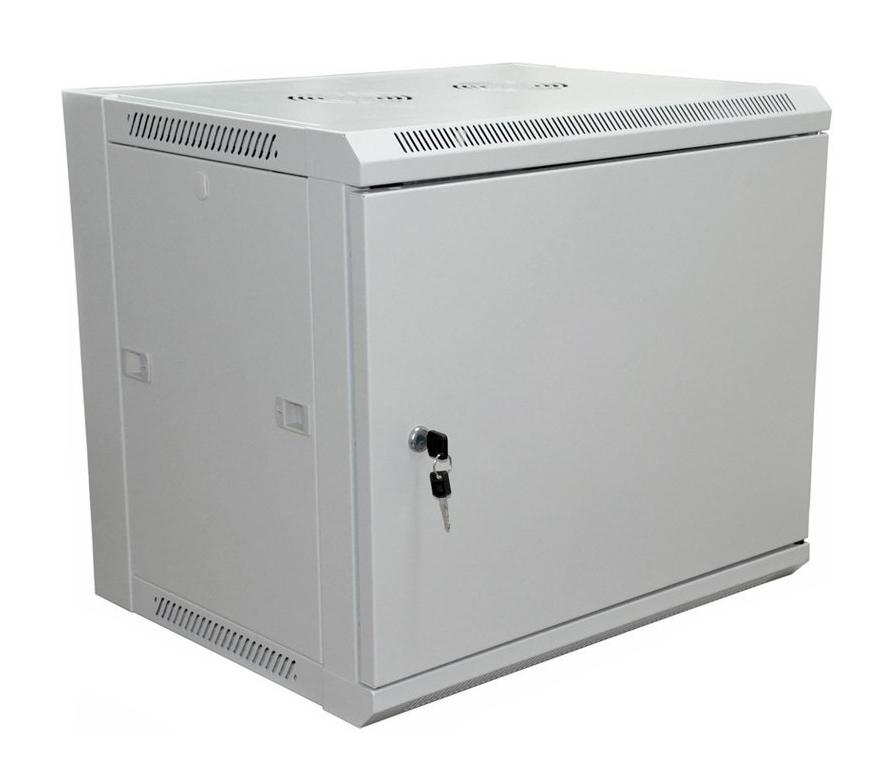 """Фото 19"""" Настенный шкаф Rexant 6U 600×600×370 мм (ШxГxВ) - передняя дверь металл, боковые стенки съемные (разобранный), RAL 7035 {04-2230}"""