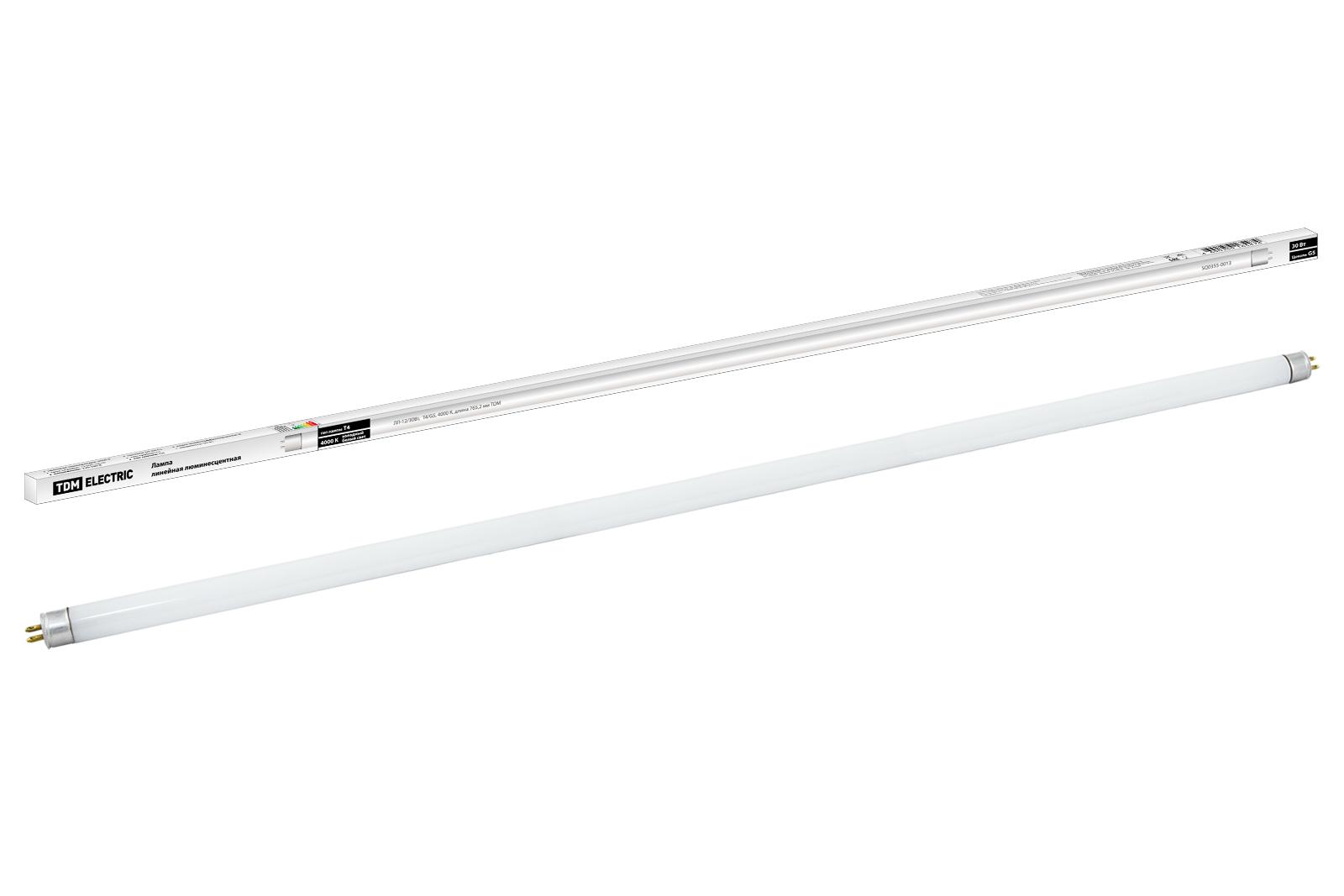 Фото Лампа люминесцентная линейная двухцокольная ЛЛ-12/30Вт, T4/G5, 4000 К, длина  765,2мм TDM {SQ0355-0013}