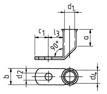 Фото Наконечники медные угловые Klauke для тонкопроволочных особогибких проводов с контрольным отверстием 35 мм² под винт М6 {klk745F6MS} (1)