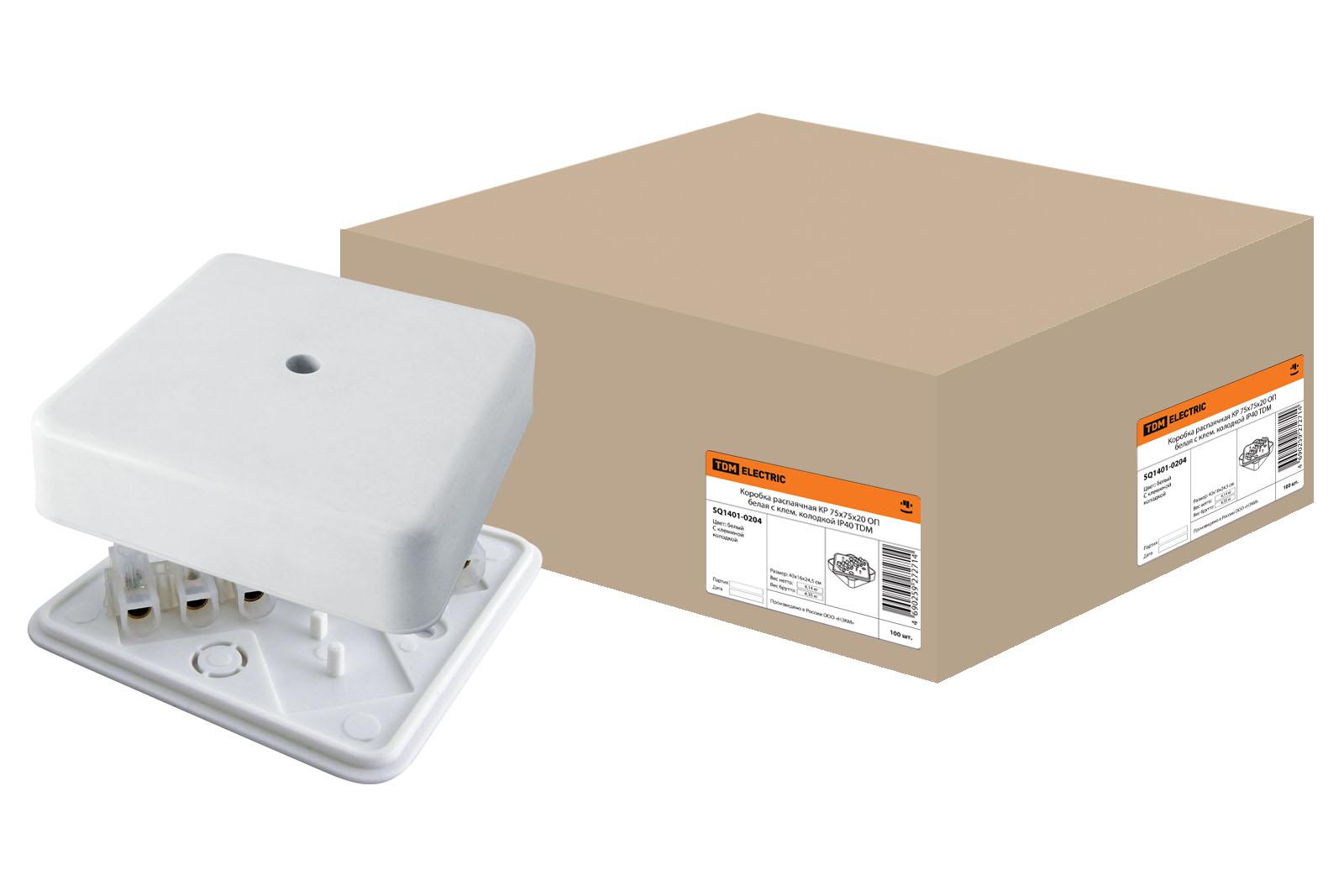 Фото Коробка распаячная КР 75х75х20 ОП с клем. колодкой белая IP40 TDM {SQ1401-0204}
