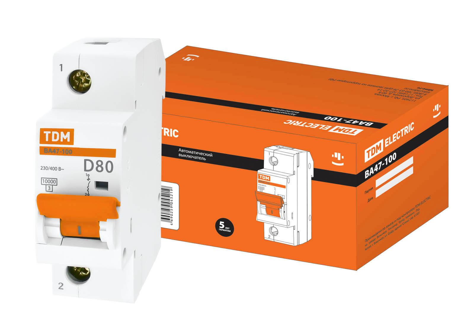 Фото Автоматический выключатель ВА47-100 1P 80А 10кА х-ка D TDM {SQ0207-0010}
