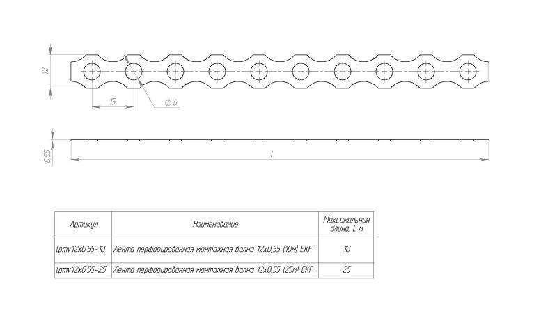 Фото Лента монтажная перфорированная волна 12х0.55 RAL (уп.10м) EKF lpmv12x0.55-10RAL