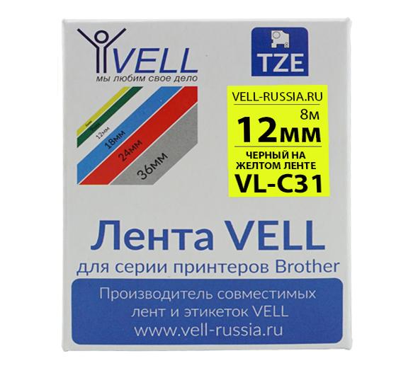 Фото Лента Vell VL-C31 (Brother TZE-C31, 12 мм, черный на желтом) для PT 1010/1280/D200/H105/E100/ D600/E300/2700/ P700/E550/9700 {Vellc31}