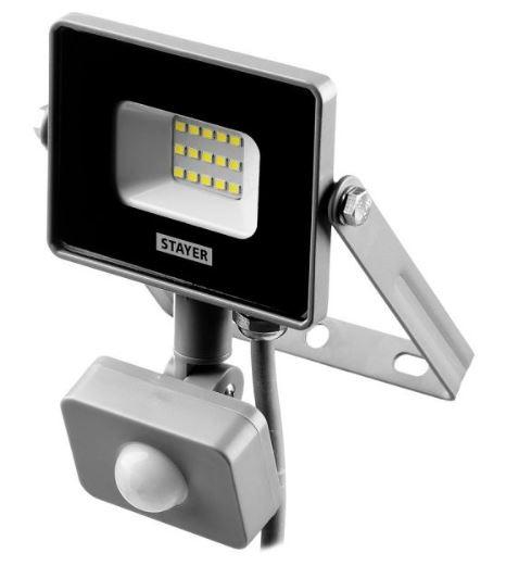 Фото STAYER LED-Pro 10 Вт прожектор светодиодный с датчиком движения {57133-10}