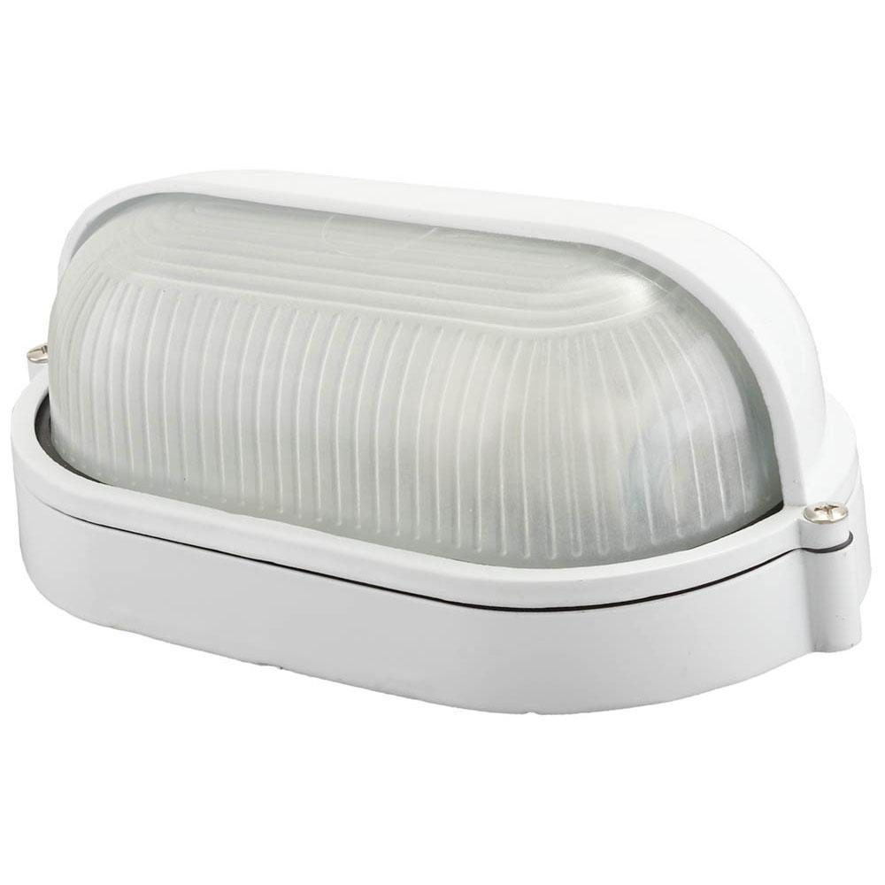 Фото Светильник уличный СВЕТОЗАР влагозащищенный с верхним защитным кожухом, овал, цвет белый, 60Вт {SV-57211-W}